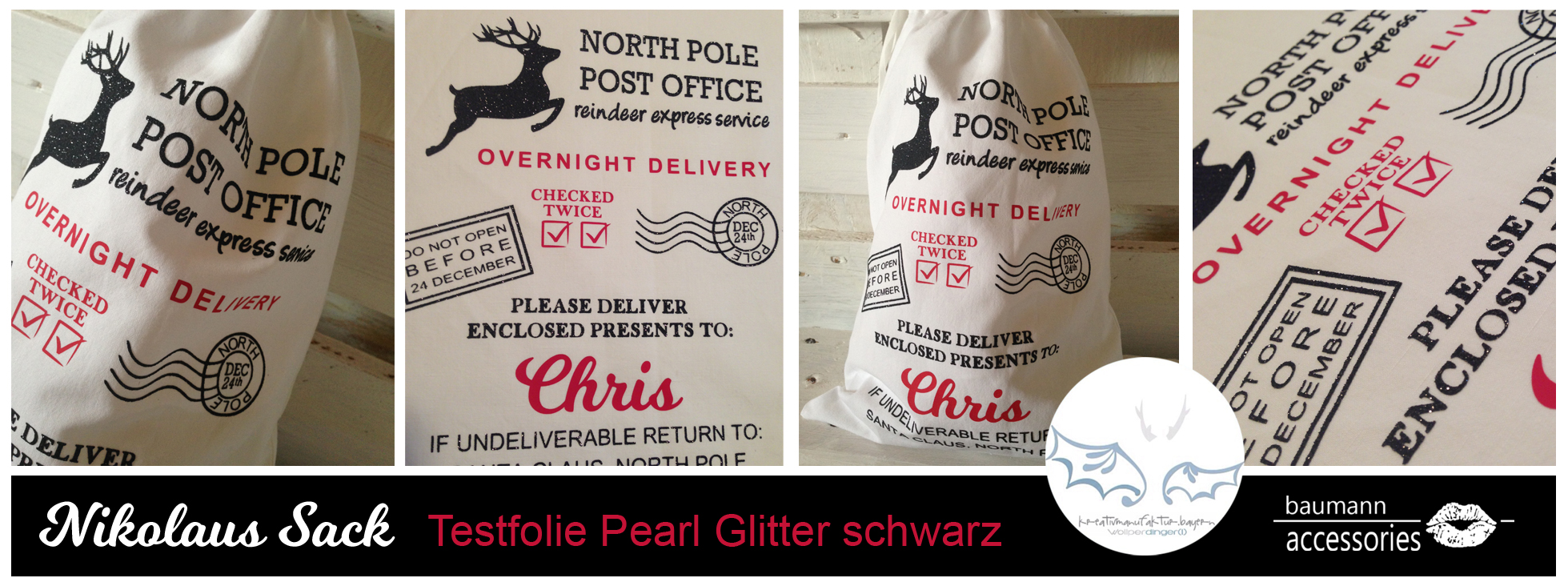 Collage Pearl Glitter schwarz