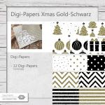 Xmas Digi-Paper Gold-Schwarz