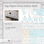 Xmas Digi-Paper Eisblau-Weiß